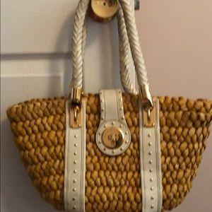 Michael Kors Straw and Leather Bag